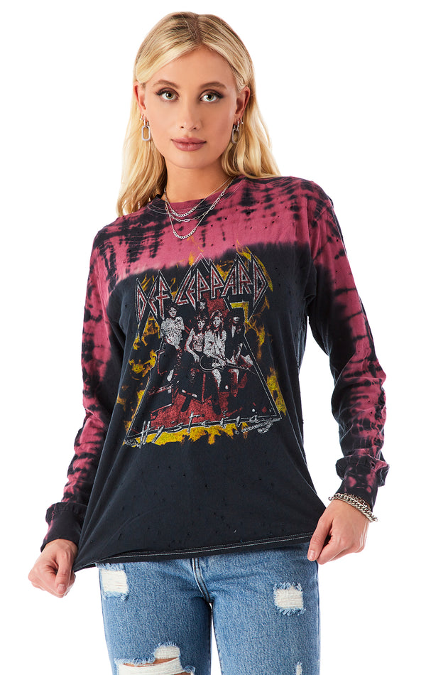 VINTAGE LONG SLEEVE TIE DYE MUSIC T-SHIRT