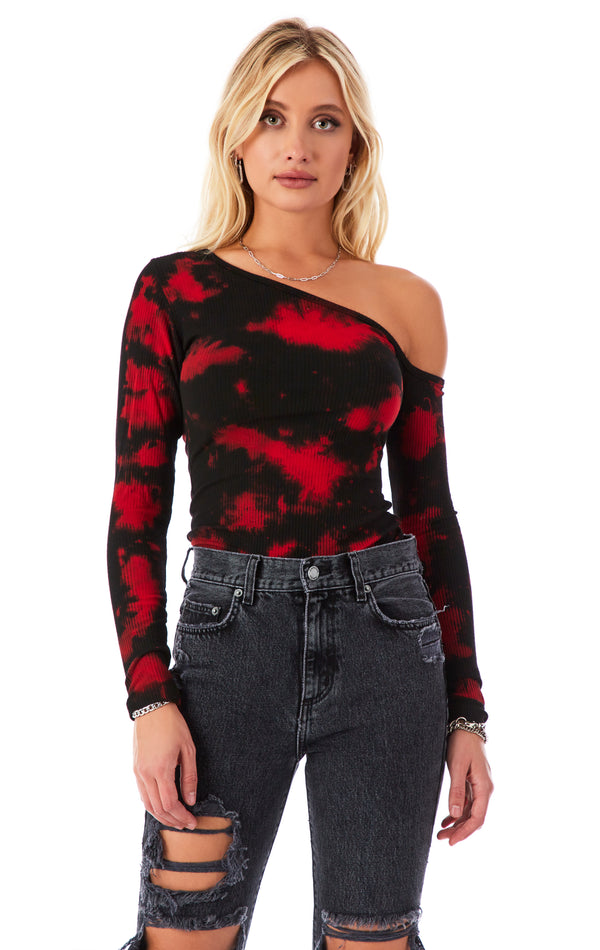 ONE SHOULDER LONG SLEEVE BLOTCH T-SHIRT