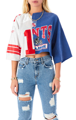 VINTAGE SPLICED JERSEY CROP SWEATSHIRT