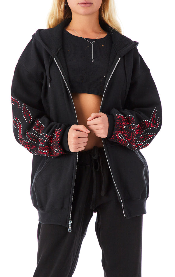 RHINESTONE FLAME ZIP UP SWEATSHIRT