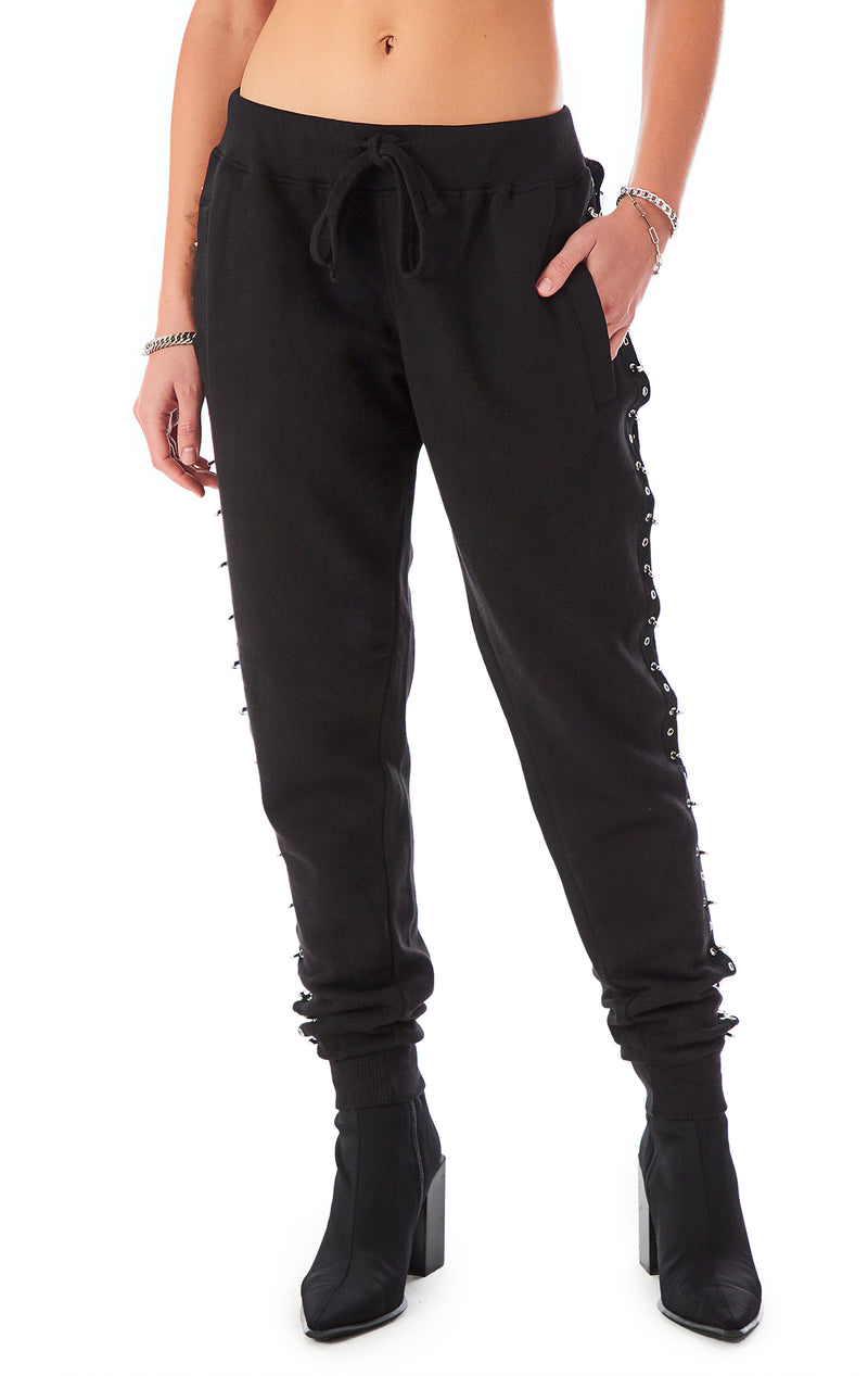 SAFETY PIN CUT OUT SWEATPANTS