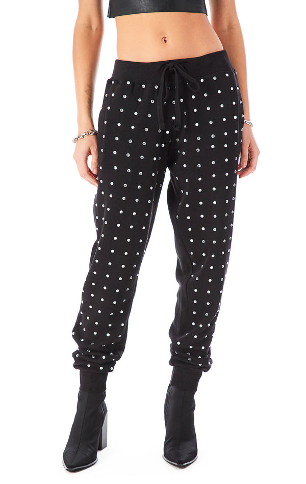ALLOVER RHINESTONE SWEATPANTS