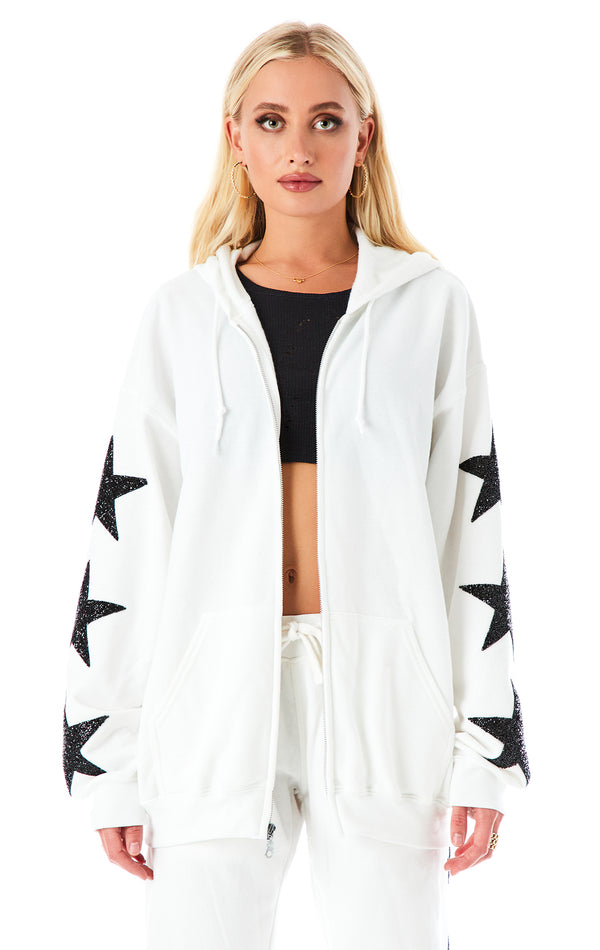 BLACK STAR PATCH ZIP UP SWEATSHIRT