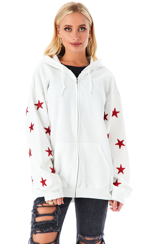 RED STAR PATCH CLUSTER ZIP UP SWEATSHIRT