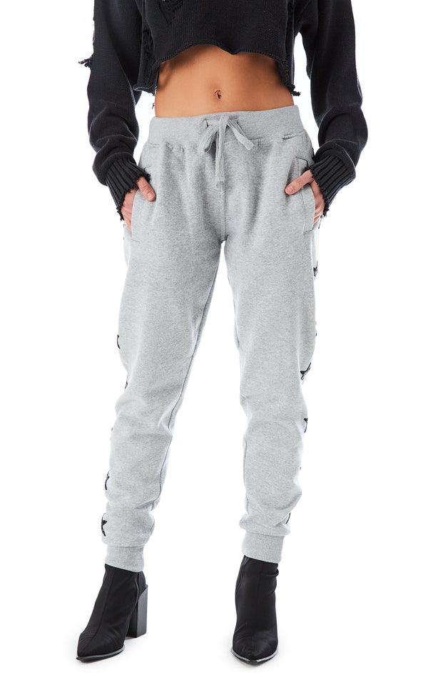 BLACK STAR PATCH SWEATPANTS