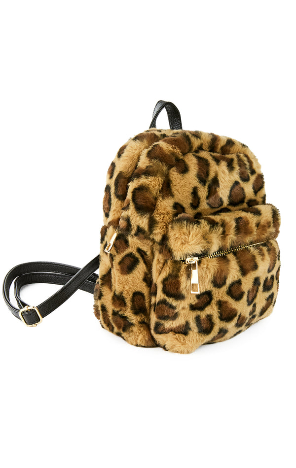 FAUX FUR DOUBLE POCKET MINI BACKPACK
