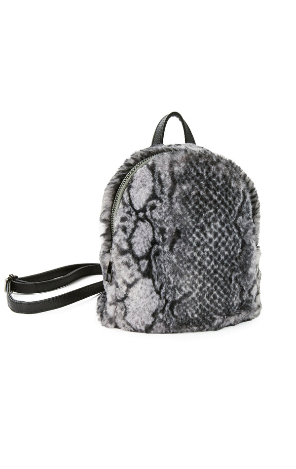 FAUX FUR MINI SNAKE BACKPACK