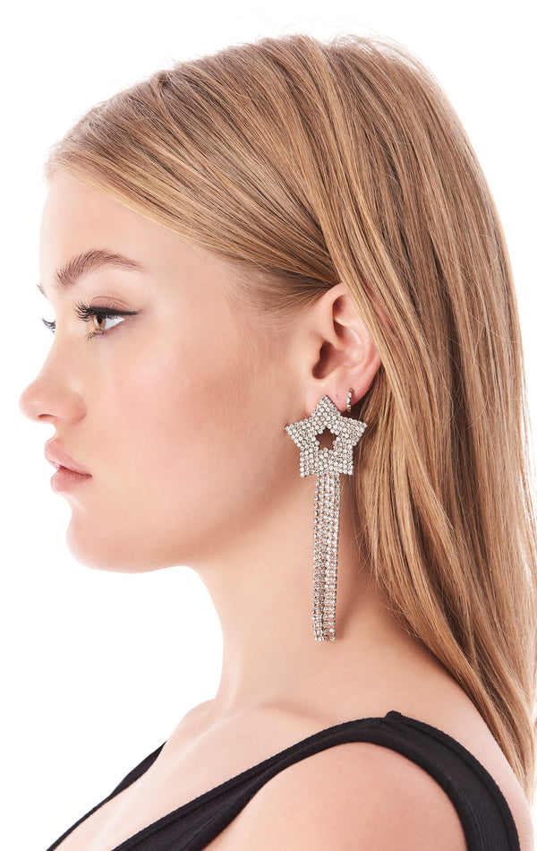 RHINESTONE STAR FRINGE EARRINGS