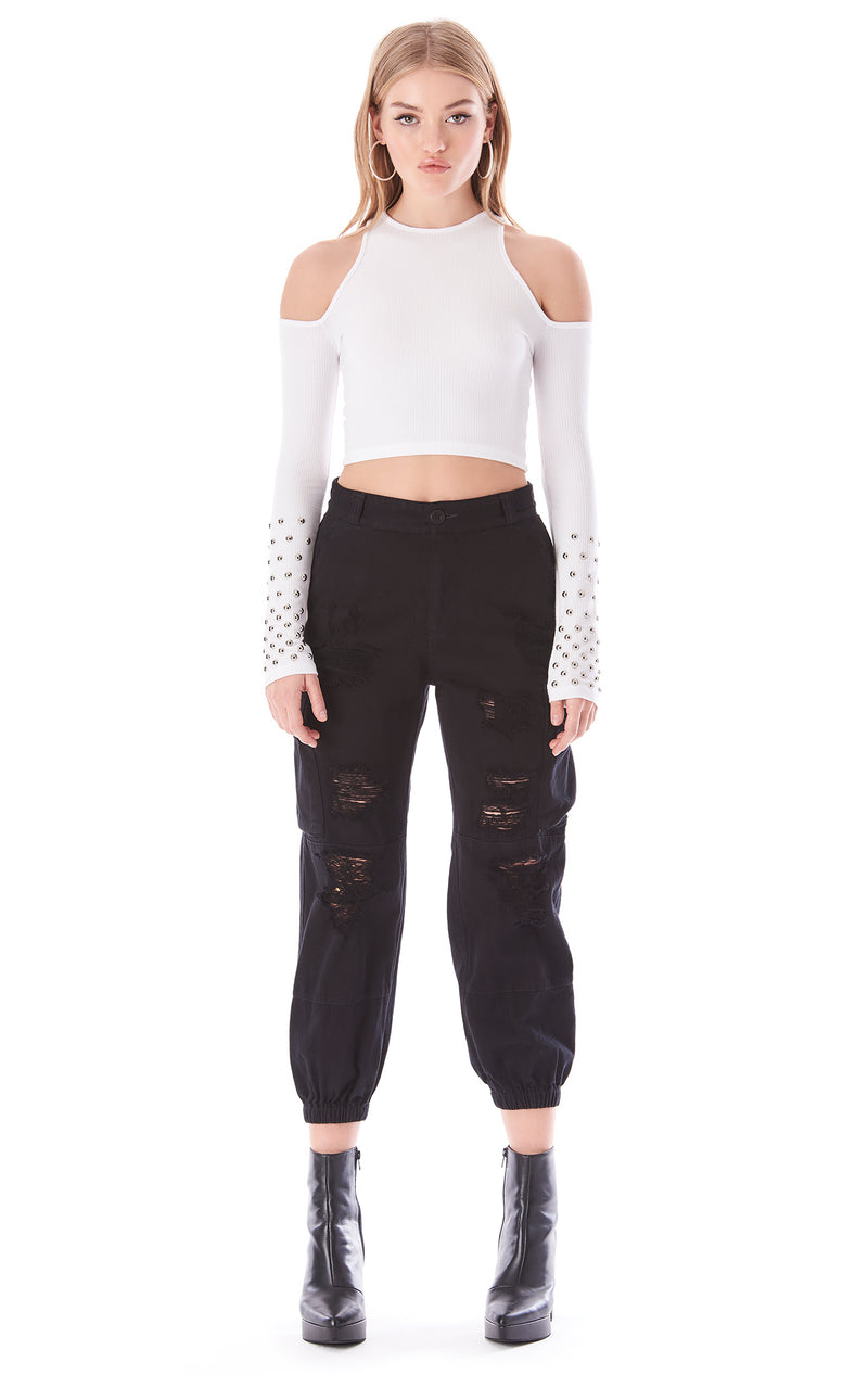 STUDDED CUT OUT LONG SLEEVE T-SHIRT