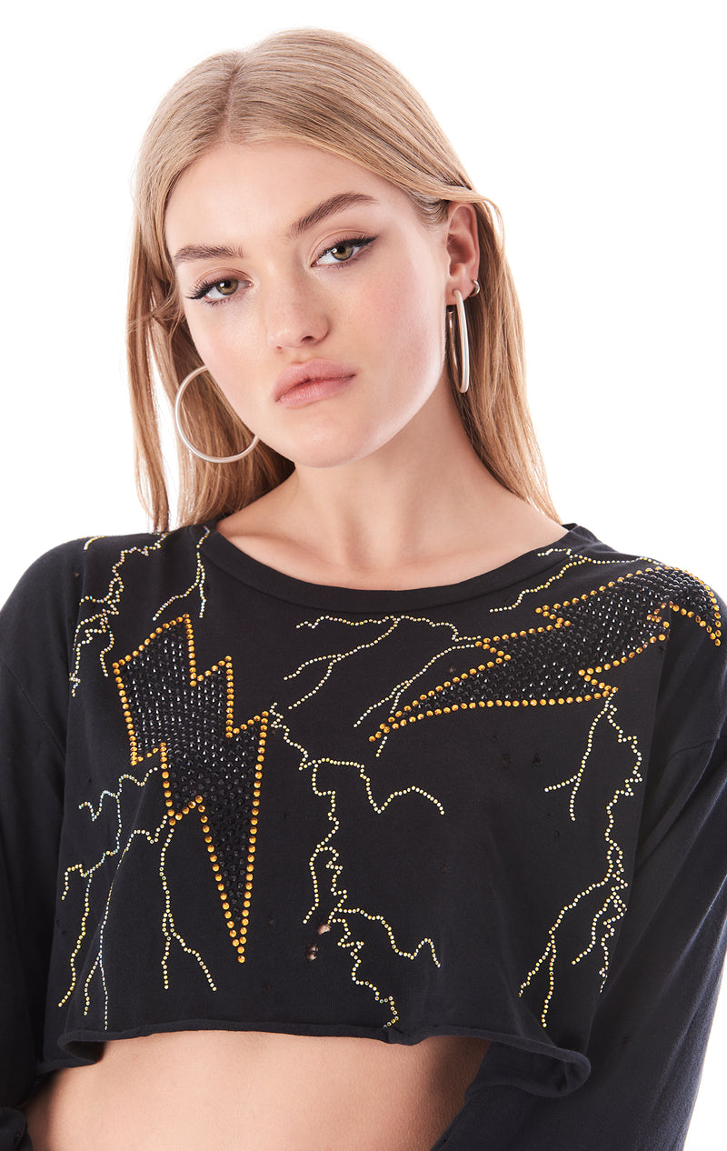LIGHTNING RHINESTONE CROP LONG SLEEVE T-SHIRT