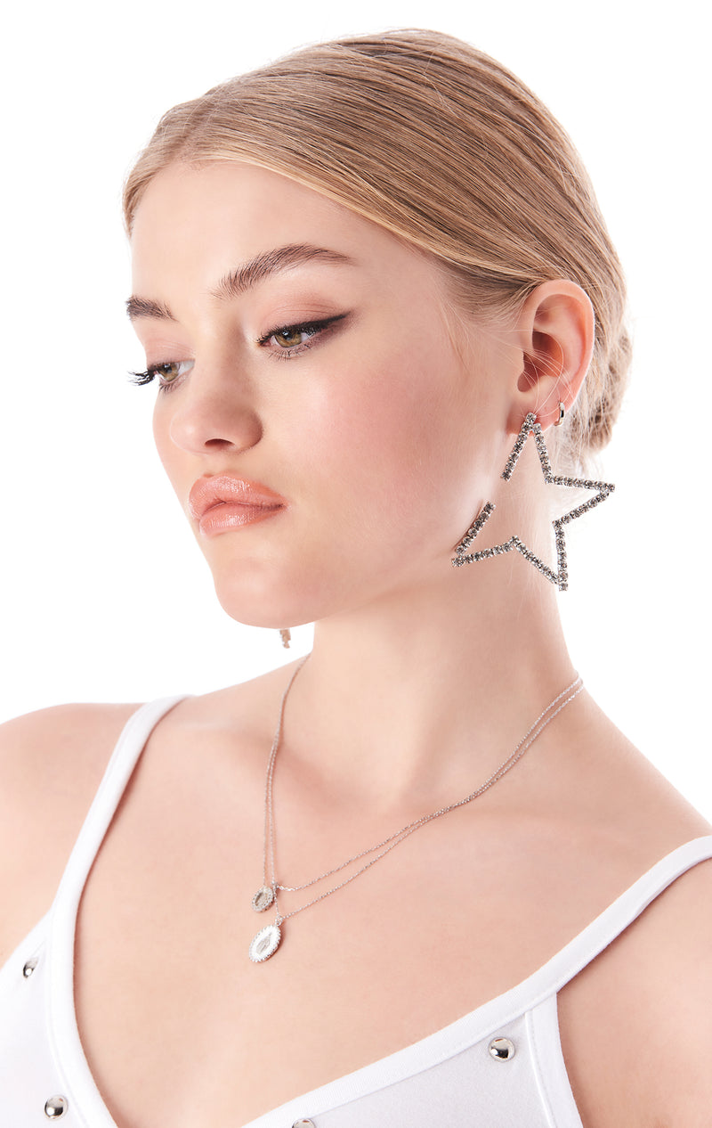 RHINESTONE STAR SHAPE EARRINGS