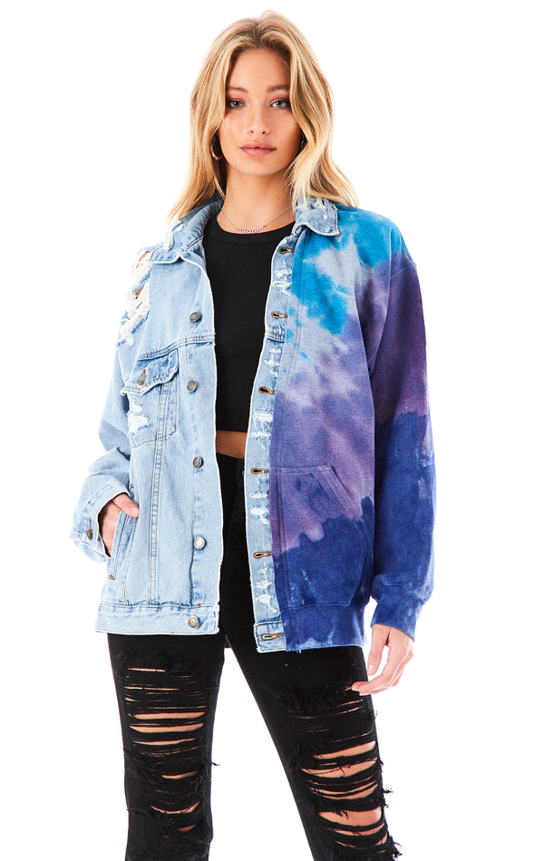 SPLICED CHEVRON TIE DYE DENIM JACKET
