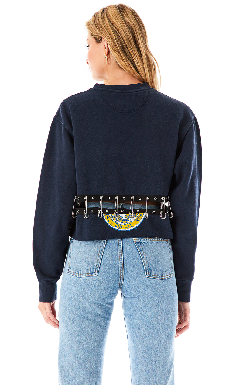 SAFETY PIN SPLIT CROP SWEATSHIRT