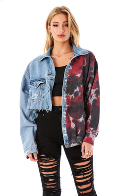 SPLICED TIE DYE CROP DENIM JACKET
