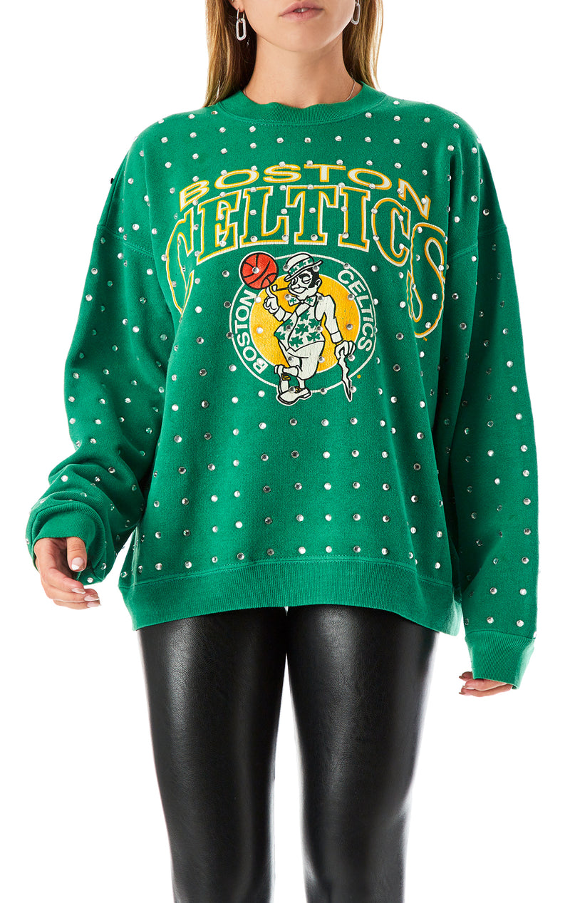 VINTAGE ALLOVER RHINESTONE SPORTS SWEATSHIRT
