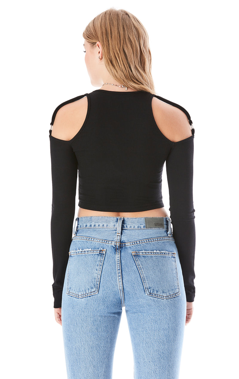 LONG SLEEVE CUT OUT SHOULDER TEE