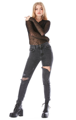 CHIC MESH LEOPARD LONG SLEEVE