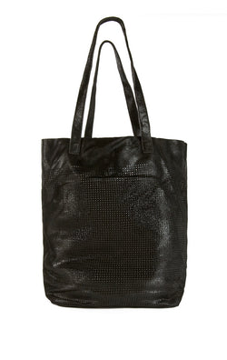 PERFORATED METALLIC LEATHER TOTE BAG