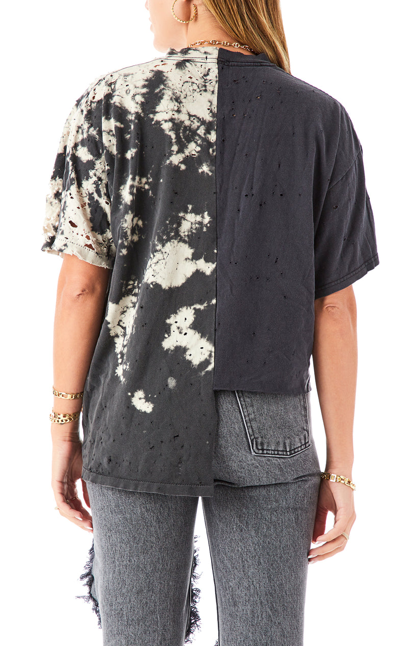 VINTAGE SPLICED HI LOW BLEACH T-SHIRT