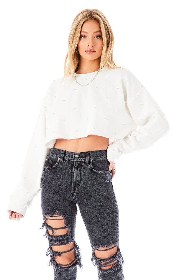 ALLOVER PEARL CROP SWEATSHIRT