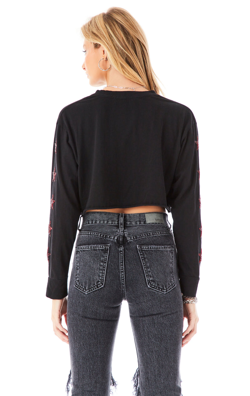RED STAR PATCH LONG SLEEVE CROP T-SHIRT