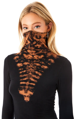 V BLEACH DYE MASK LONG SLEEVE T-SHIRT