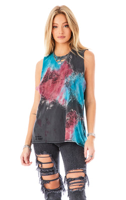 CLOUD TIE DYE SLEEVELESS BOYFRIEND T-SHIRT
