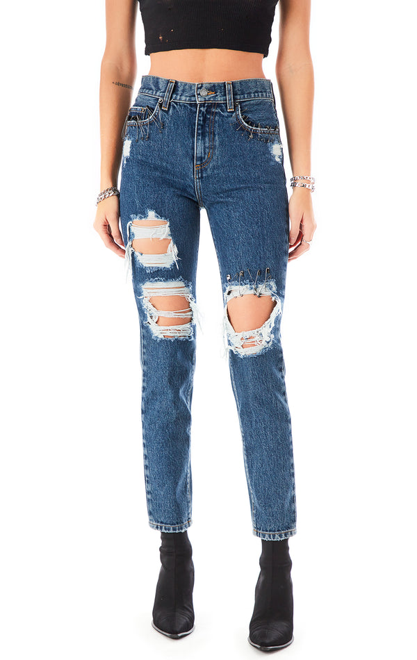 ALEXANDER AGATE SAFETY PIN JEAN
