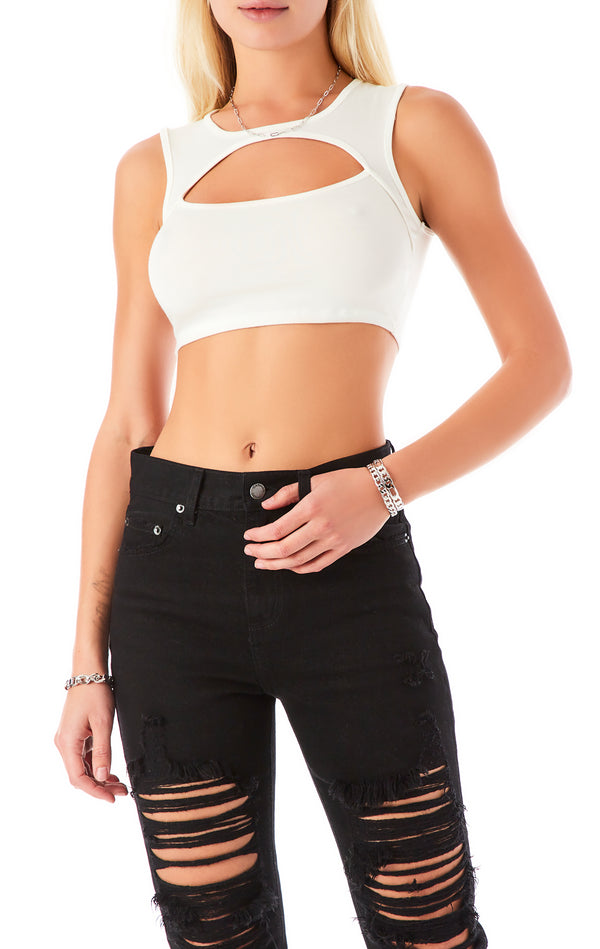 CHEST CUT OUT CROP TANK TOP