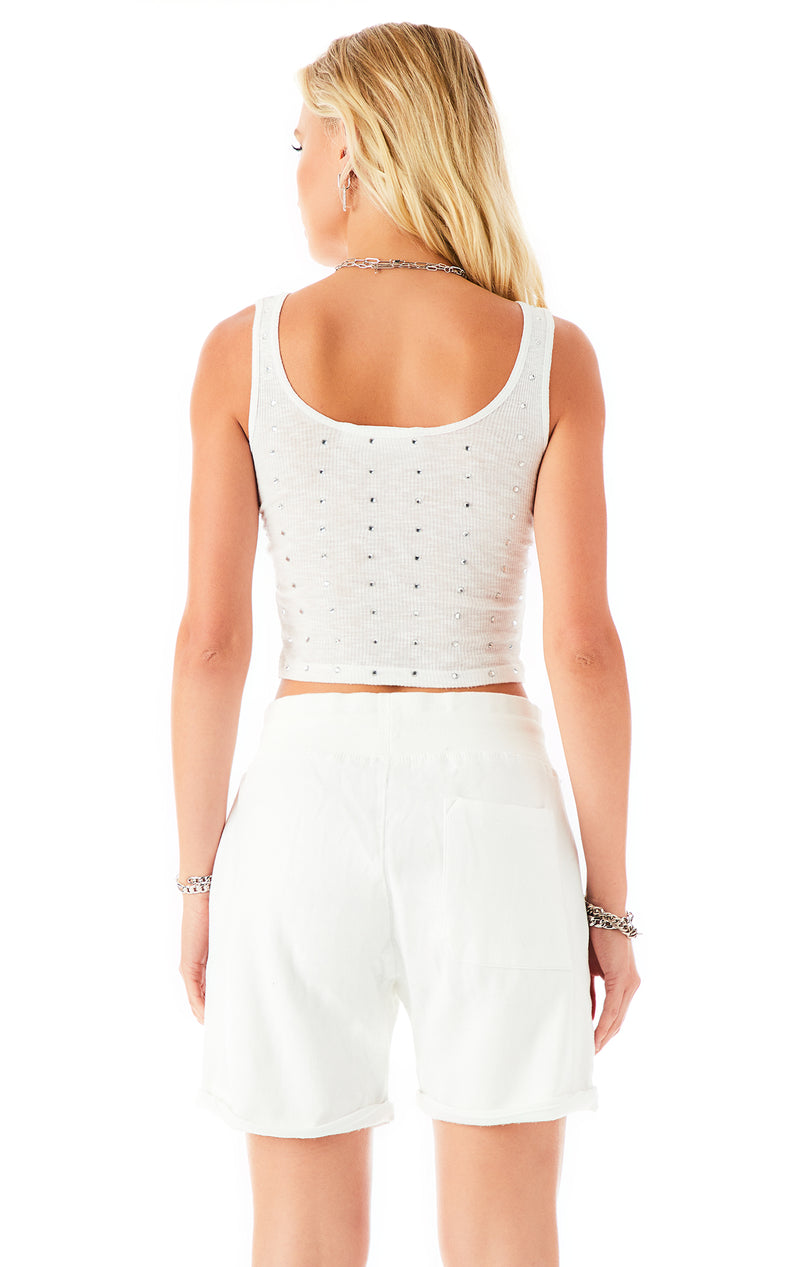 ALLOVER RHINESTONE CUFFED SWEATSHORT