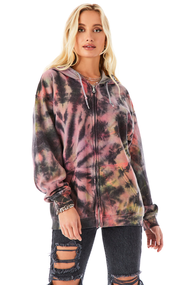 MULTI MUTED SPIRAL ZIP UP SWEATSHIRT