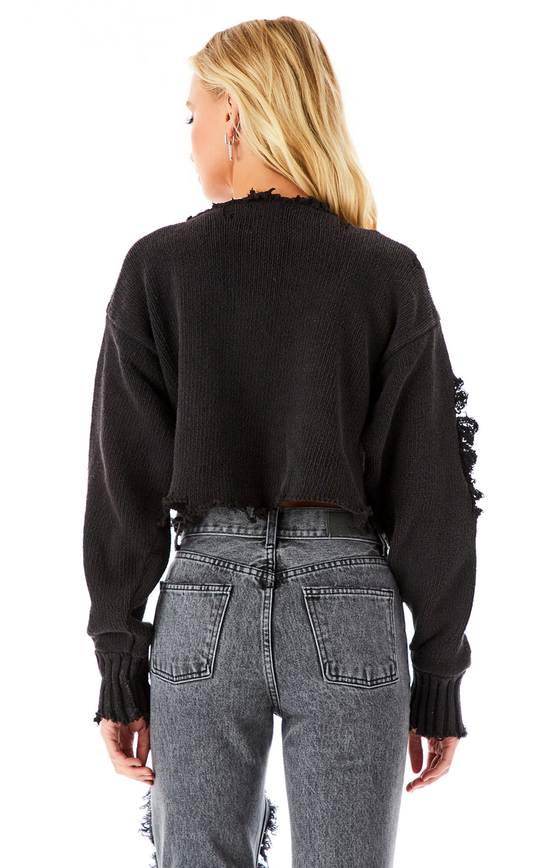 VINTAGE SAFETY PIN CROP SWEATER