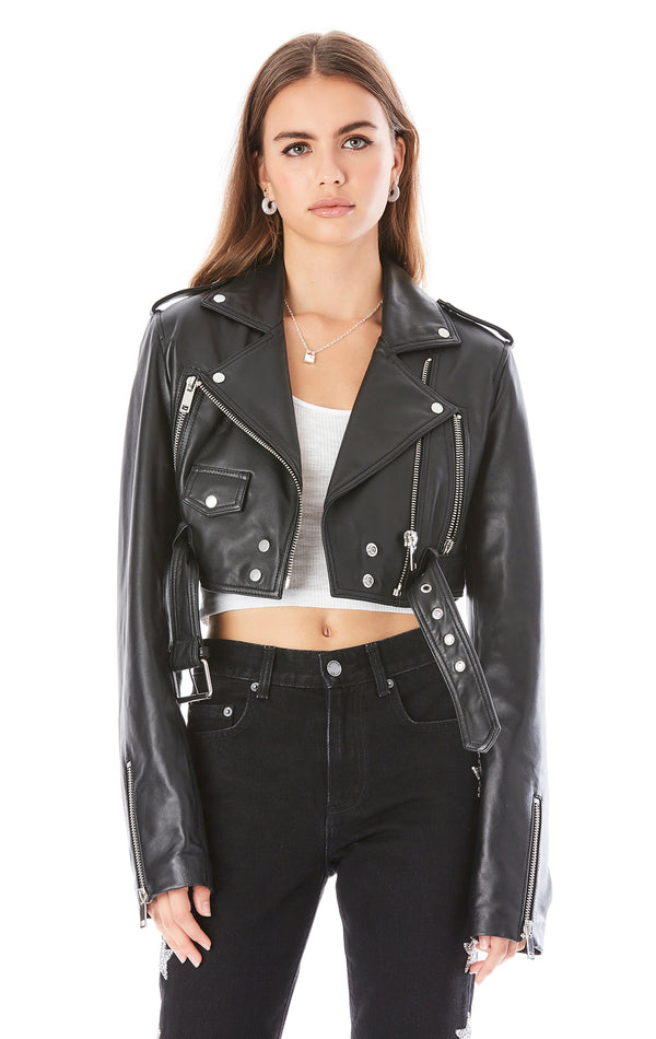 LEATHER CROPPED MOTORCYCLE JACKET