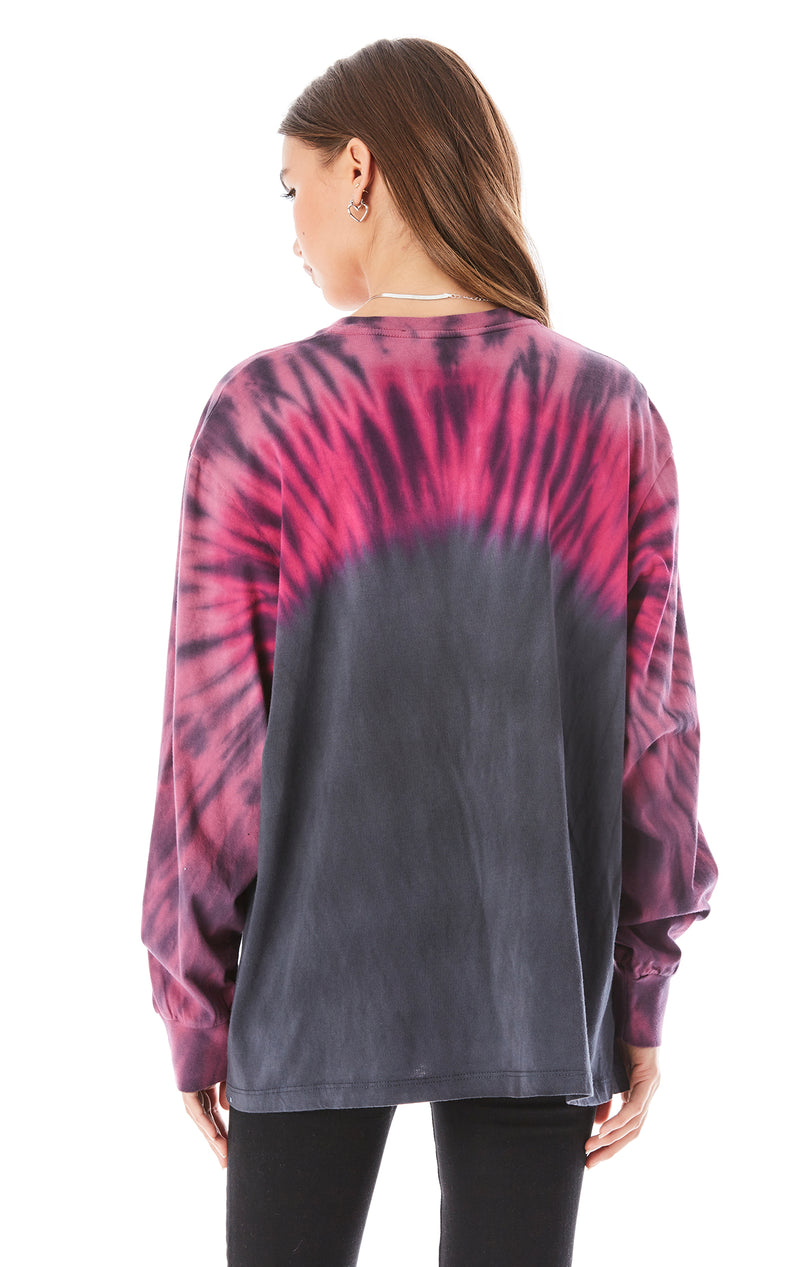 SHOULDER TIE DYE LONG SLEEVE T-SHIRT