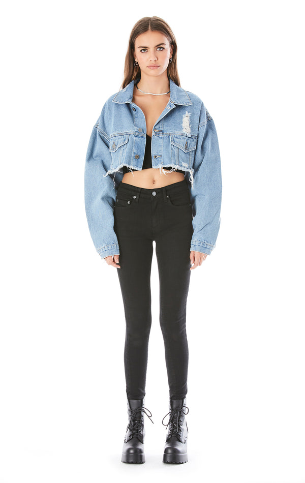 NICHOLAS ELISE CROP DENIM JACKET