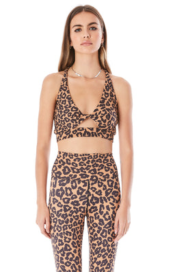 TWIST TOP LEOPARD CUT OUT SPORTS BRA
