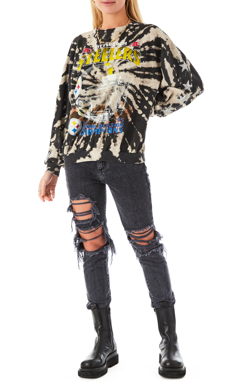 VINTAGE BLEACH SPIRAL STAR PATCH SWEATSHIRT