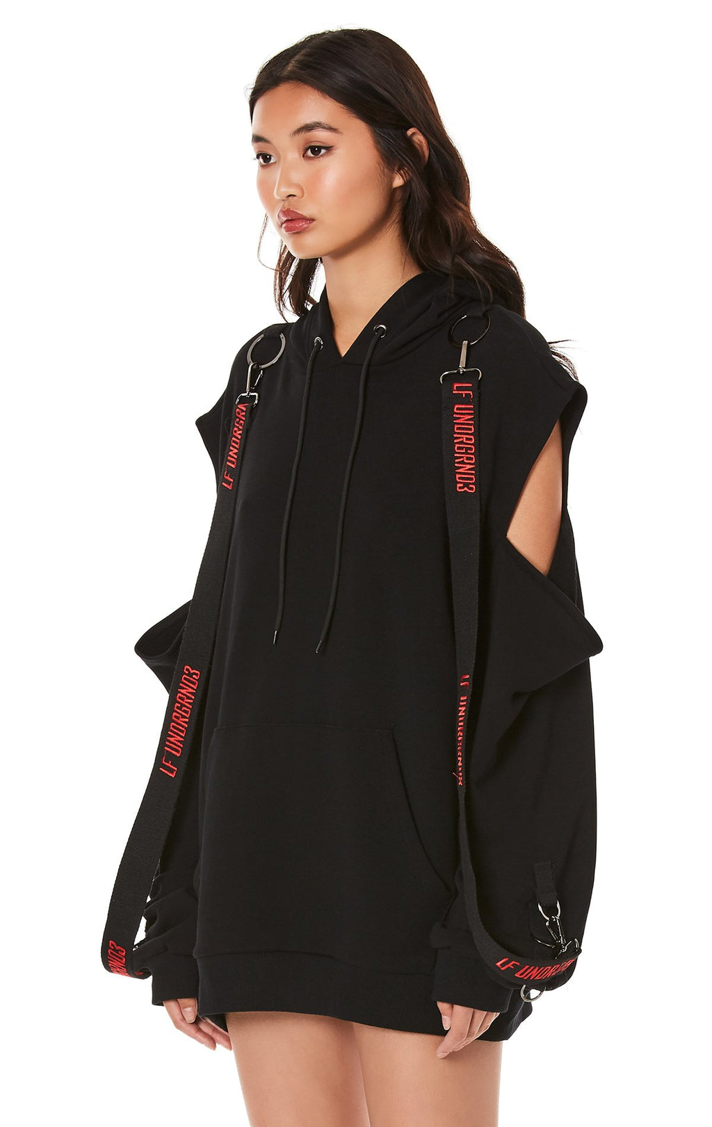 CUTOUT SHOULDER HOODIE WITH LONG SUSPENDERS ANGLE