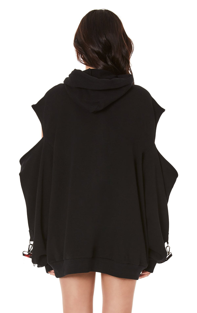 CUTOUT SHOULDER HOODIE WITH LONG SUSPENDERS BACK