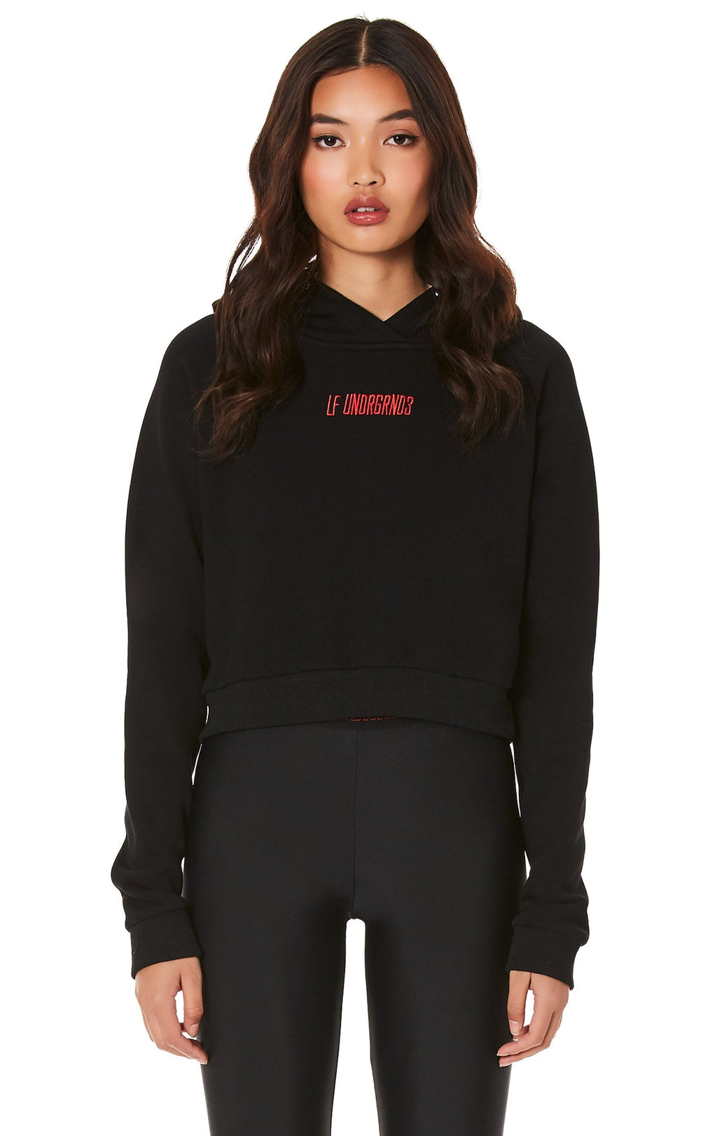 CROPPED HOODIE WITH EMBROIDERY FRONT
