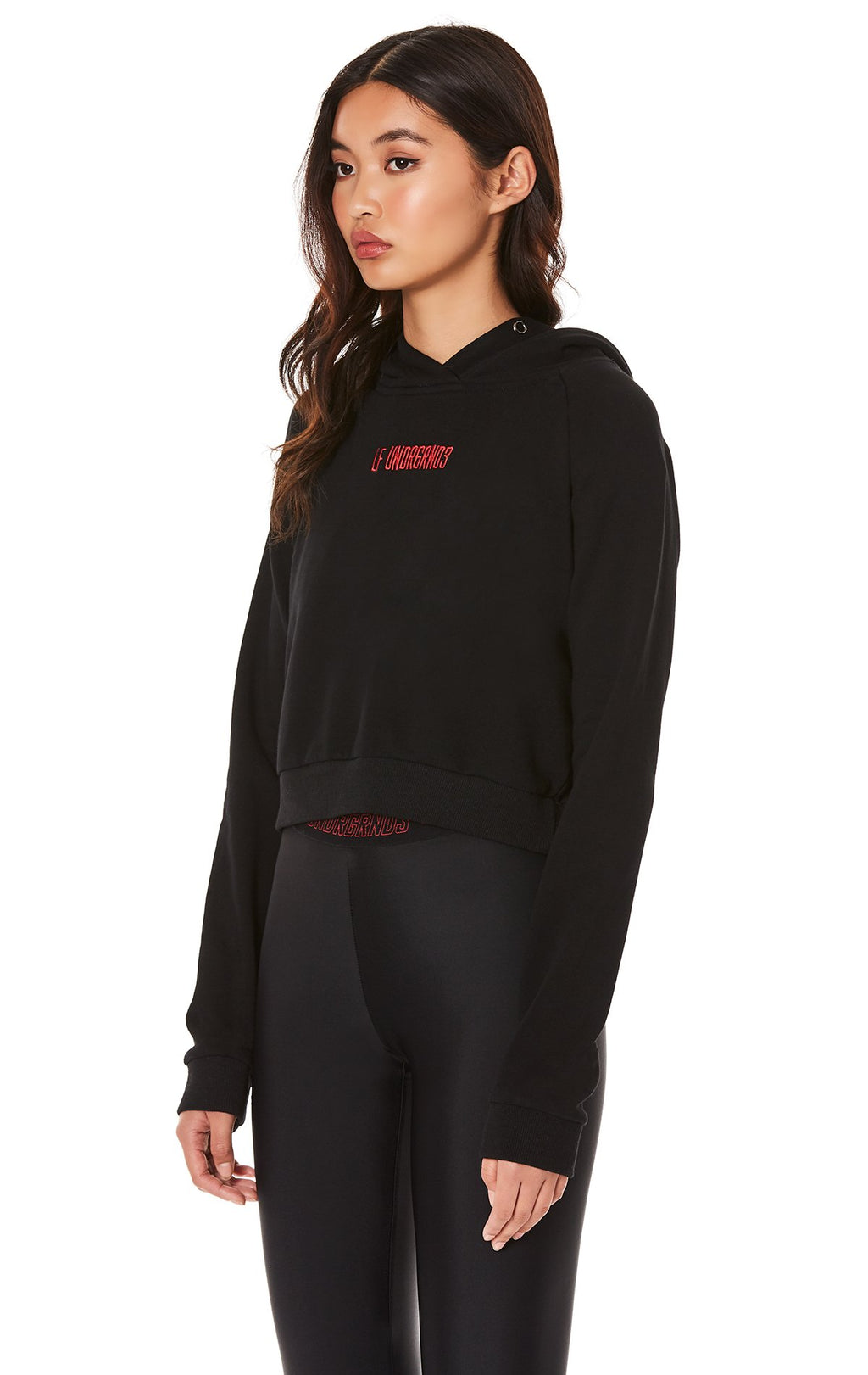 CROPPED HOODIE WITH EMBROIDERY ANGLE