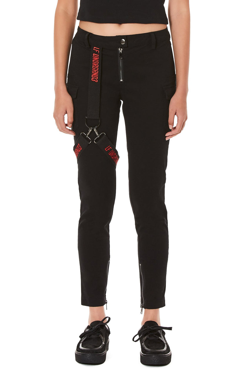 LF THE BRAND FITTED PANT WITH EMBROIDERED LEG HARNESS CROP FRONT