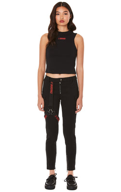 LF THE BRAND FITTED PANT WITH EMBROIDERED LEG HARNESS FULL BODY FRONT