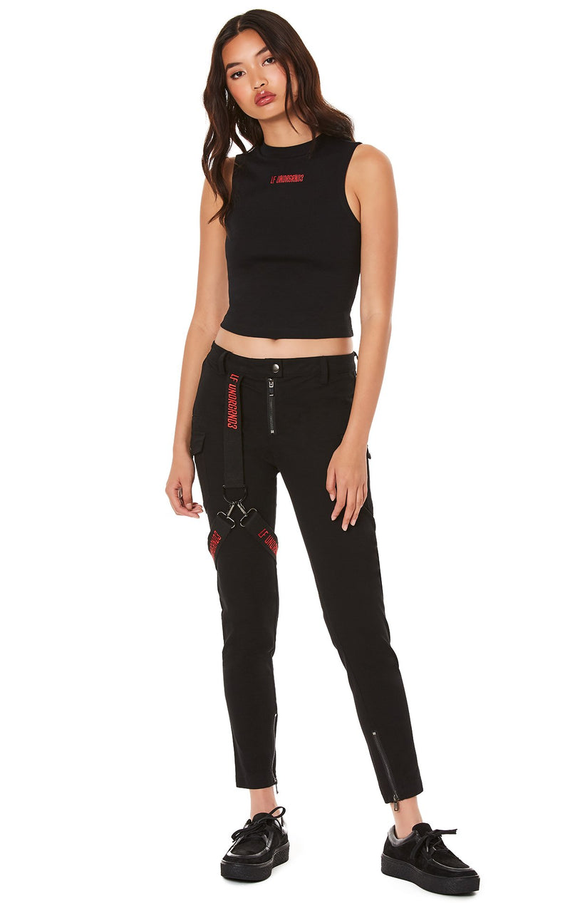 LF THE BRAND FITTED PANT WITH EMBROIDERED LEG HARNESS FRONT
