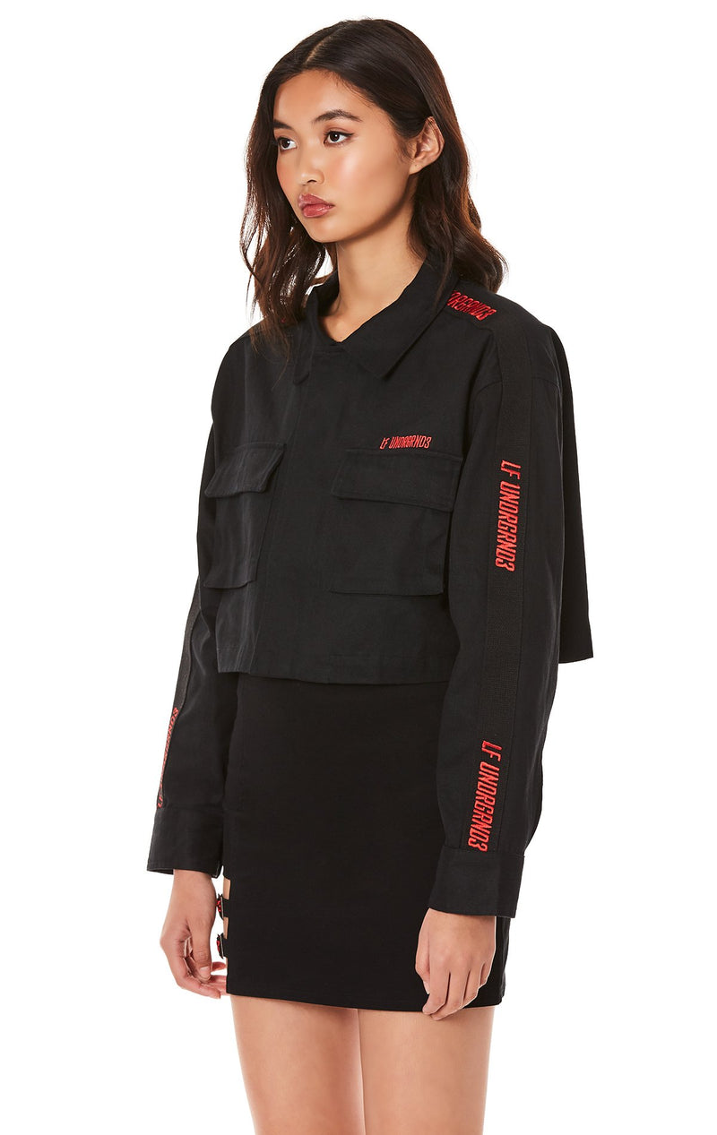 CARGO JACKET WITH EMBROIDERED TAPE