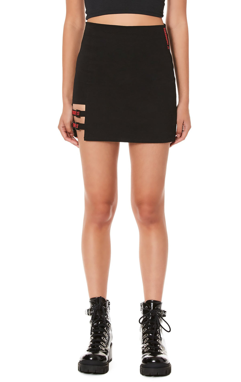 FITTED SKIRT WITH SUSPENDER STRIP DETAIL FRONT