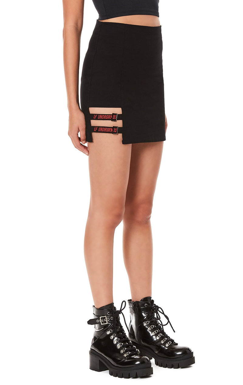 FITTED SKIRT WITH SUSPENDER STRIP DETAIL ANGLE TWO