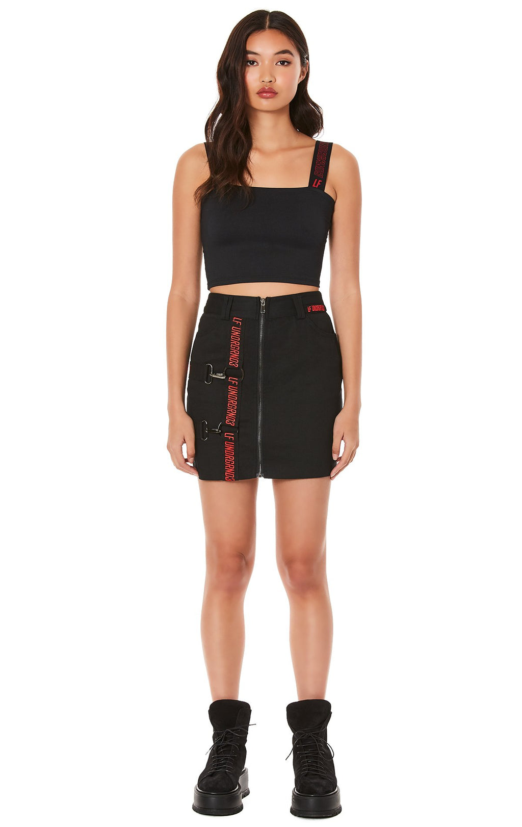 ZIP FRONT SKIRT WITH HORIZONTAL AND VERTICAL SUSPENDERS FULL FRONT