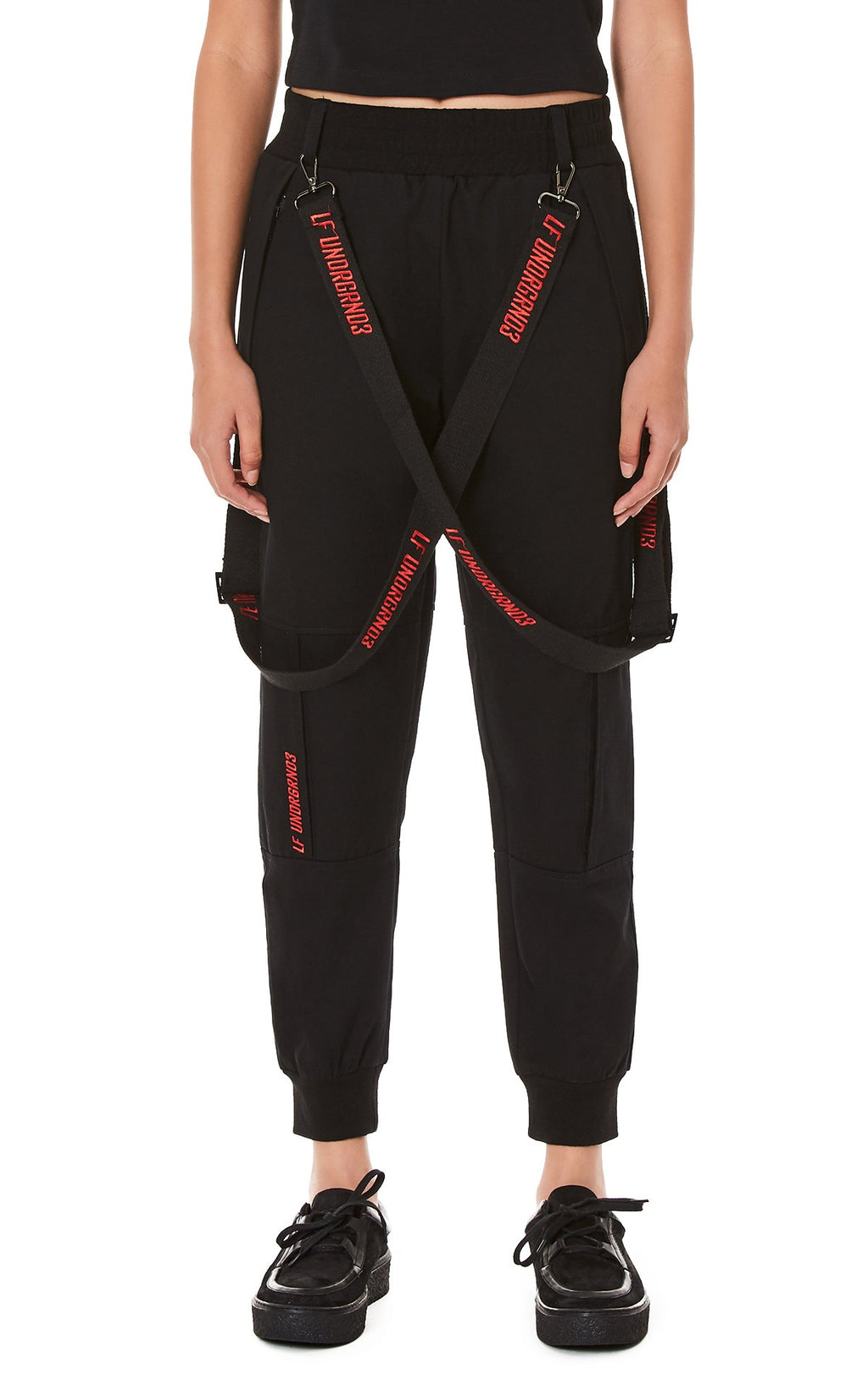 JOGGER PANTS WITH EMBROIDERED SUSPENDERS FRONT