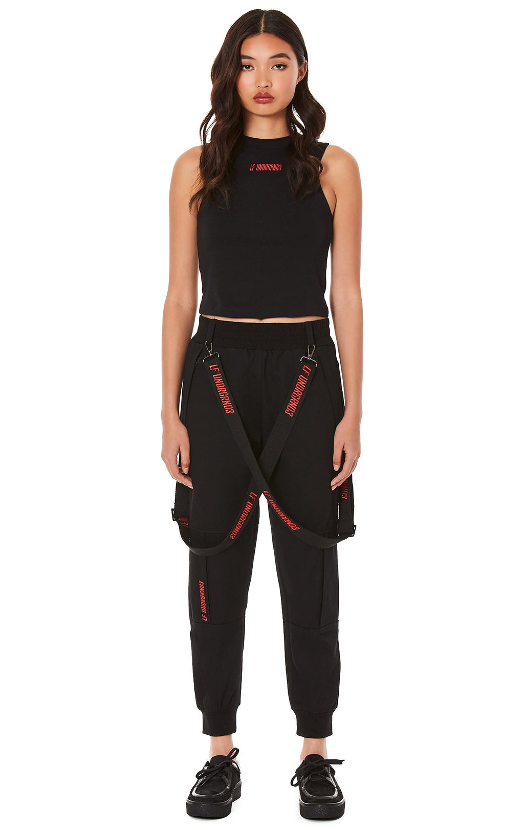 JOGGER PANTS WITH EMBROIDERED SUSPENDERS FULL FRONT